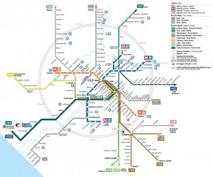 Mobility map from Roma Termini railway station to Rome and province