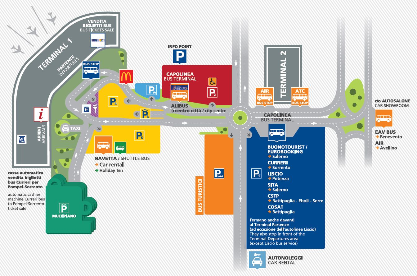 Naples Airport Terminal Map Airport Naples Capodichino   connections   Sitabus.it
