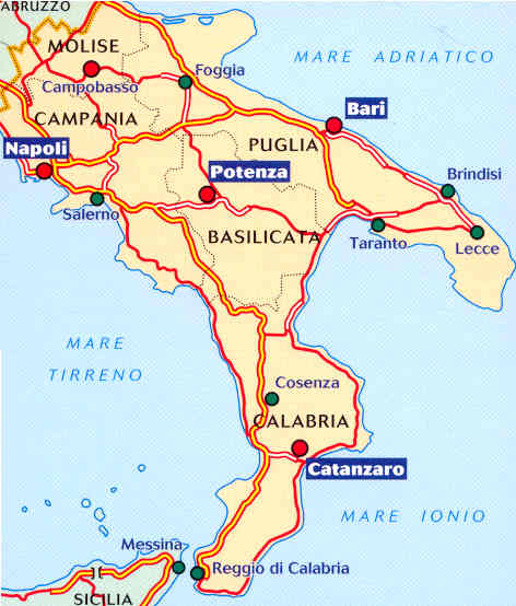 Mappa Napoli Puglia.Mappa Italia Puglia Molise Campania Sitabus It